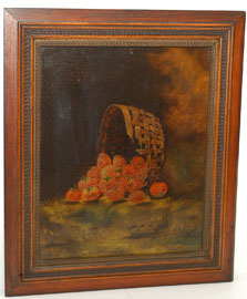 Still Life Oil Painting of Basket of Strawberies