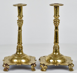 Massive 18th Century Brass Candlesticks