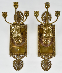 Pair Ornate Brass Candle Wall Sconces