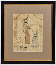 Early Folk Art Watercolor of Mother & Child