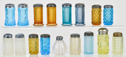 Colored Pattern Glass Salt & Peppers