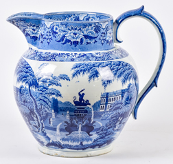 Super Large Early Staffordshire Transferware Store Display Pitcher