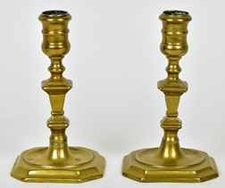 Pair Queen Anne Brass Candlesticks