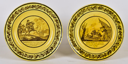 Pair French Napoleonic Wars Creamware Plates