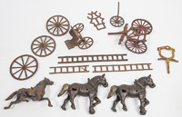 CAST IRON HORSE DRAWN VEHICAL PARTS
