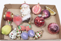 GROUP OF MODERN BLOWN GLASS CHRISTMAS ORNAMENTS