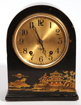 Gilbert Black Laquer Chinese Decorated Mantle Clock