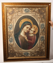 Signed V. Angelletti Hand Painted Tapestry Madonna and Child
