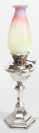 Silver Base Oil Lamp With Art Glass Shade