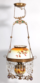 Victorian Hanging Parlor Lamp With Jewels