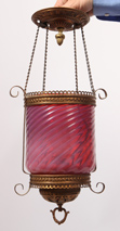 Vicorian Cranberry Opalesent Hanging Lamp