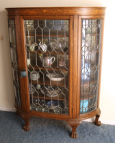 Outstanding Oak Leaded Glass China Cabinet