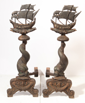 Arts & Crafts Figural Andirons With Ships
