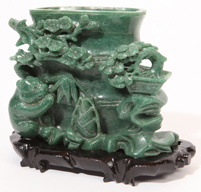 Chinese Carved Jade Vase with Panda