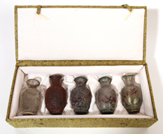 Boxed Set Chinese Champleve Vases