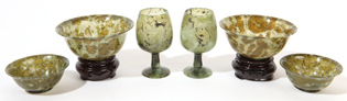 Chinese Spinach Jade Turned Cups & Goblets