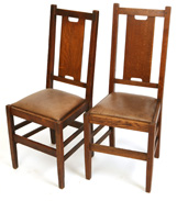 PAIR OF GUSTAV STICKLEY H-BACK CHAIRS, #308