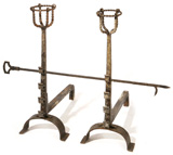 PR. ARTS & CRAFTS ANDIRONS IN THE STYLE OF GUSTAV STICKLEY