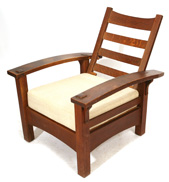 GUSTAV STICKLEY EARLY BOW ARM MORRIS CHAIR