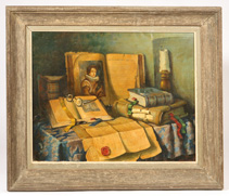 ILLEGIBLY SIGNED STILL LIFE OIL PAINTING