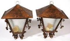 PR. ARTS & CRAFTS WROUGHT COPPER HANGING POST LAMPS