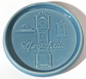 ROOKWOOD POTTERY ADVERTISING HERSCHEDE CLOCKS TRAY