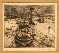 HERMAN HENRY WESSEL (OHIO/INDIANA) ETCHING OF CINTI. RIVERFRONT