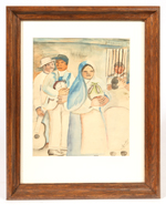 ILLEGIBLY SIGNED 20TH CENTURY WATERCOLOR PAINTING