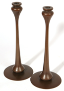 PR. CONTEMPORARY JARVA STYLE BRONZE CANDLESTICKS