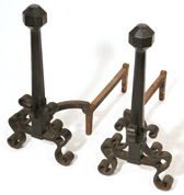 ARTS & CRAFTS WROUGHT IRON ANDIRONS