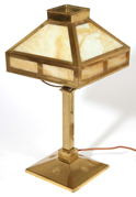 ARTS & CRAFTS BRASS & SLAG GLASS TABLE LAMP