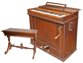 Hand Crank Barrel Organ and Stool
