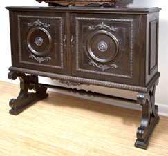 Walnut 2 Door Cabinet With Carving