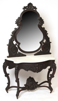Rococo Marble Top Console Table with Mirror