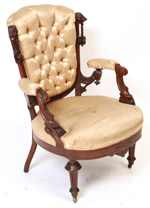 Victorian Arm Chair With Carved Heads