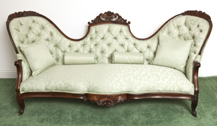 Large Victorian Triple Rose Carved Sofa