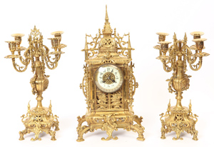 19th Century Bronze Clock Garniture Set
