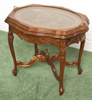 1920's Carved Glass Top Coffee Table