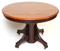 Walnut Victorian Round Dining Table