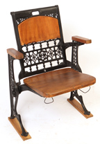 19th Century Cast Iron and Wood Courthouse Chair