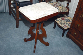 WALNUT MARBLE TOP STAND