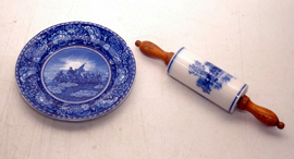 Flow Blue Rolling Pin & Historical Plate