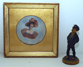 Small Handpainted Plaque & Boy Statue