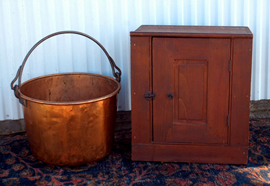 Early Hanging Cabinet & Copper Bucket