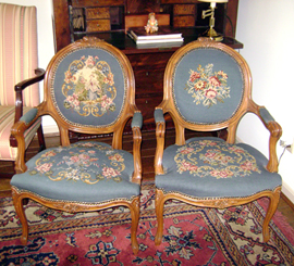 Pr. of French Style Needlepoint Chairs