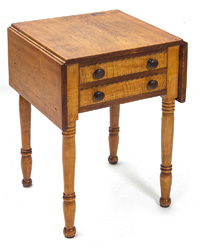 Tiger Maple Two Drawer Drop Leaf Stand
