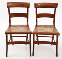 Pair Curly Maple Regency Chairs
