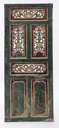 Highly Carved & Painted Spanish Door