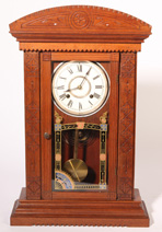 RARE WATERBURY WEIGHT DRIVEN KITCHEN CLOCK