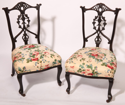 PR. OF ROSEWOOD VICTORIAN ROCOCO REVIVAL SLIPPER CHAIRS